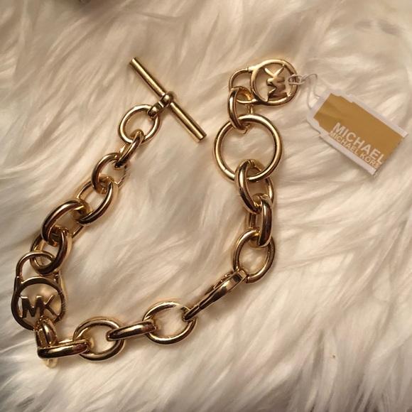 1fdf1d6ebfbe6 Michael Kors Gold Tone Toggle Chain Link Bracelet NWT